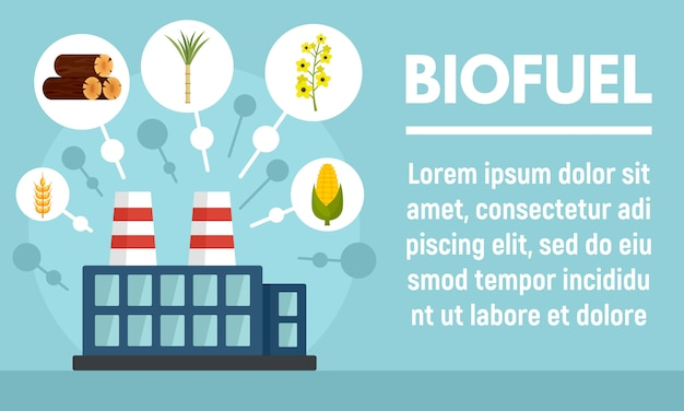 Biofuel factory banner, flat style