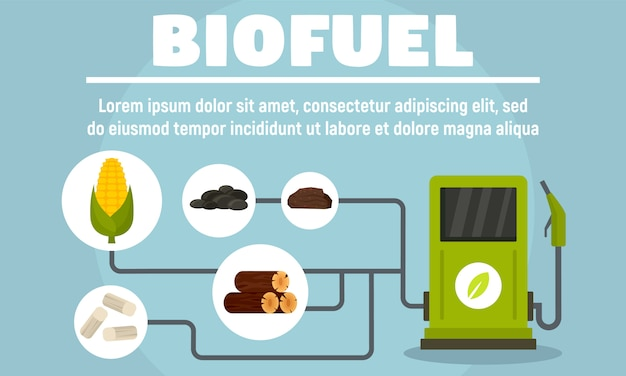 Biofuel system banner, flat style