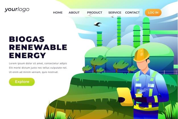 Возобновляемые источники энергии биогаза - векторные иллюстрации
