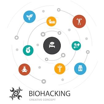 간단한 아이콘으로 바이오 해킹 컬러 원 개념입니다. 유기농 식품, 건강한 수면, 명상, 약물과 같은 요소가 포함되어 있습니다.