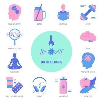 Biohacking icon set