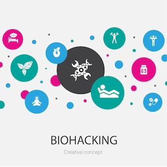 간단한 아이콘이 있는 biohacking 유행 원형 템플릿입니다. 유기농 식품, 건강한 수면, 명상, 약물과 같은 요소가 포함되어 있습니다.