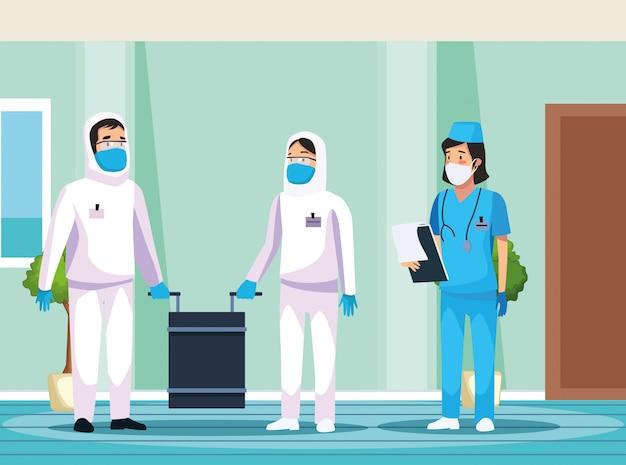 病院で看護師がいるバイオハザード洗浄者
