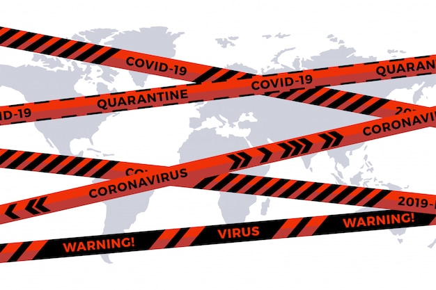 Biohazard danger tape on white paper cut world map. safety fencing ribbon. world quarantine flu. warning danger influenza hazard. global pandemic coronavirus covid-19
