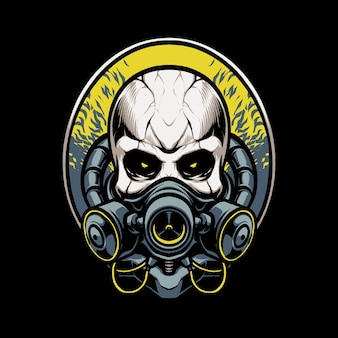 Biohazard mask skull head illustration