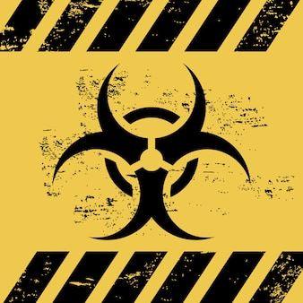 Biohazard ribbon over white background vector illustration