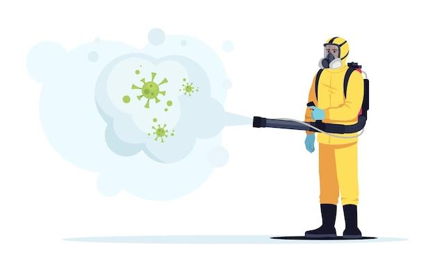 バイオハザードセミフラットrgbカラーベクトルイラスト。ウイルスの発生による消毒。汚染地域の消毒。防護服の医療従事者は、白い背景の上の漫画のキャラクターを分離しました