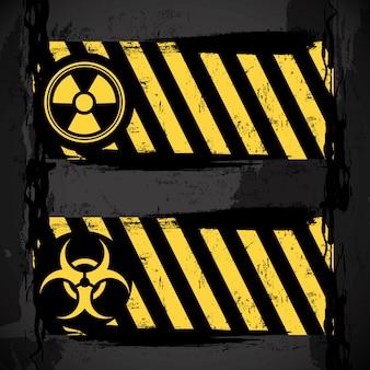Biohazard signs over black background vector illustration