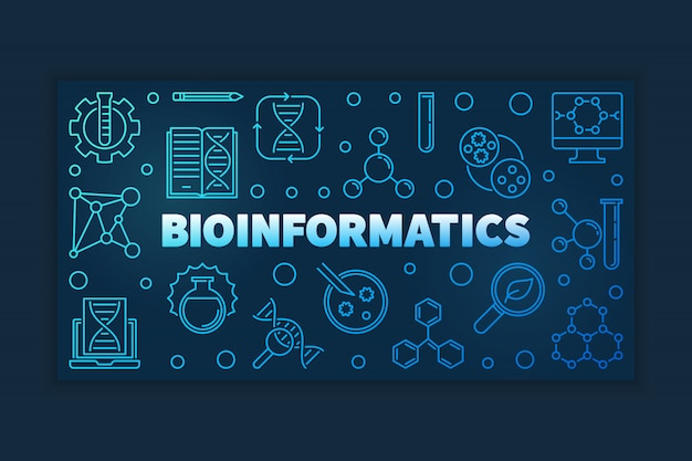 Bioinformatics blue outline vector banner
