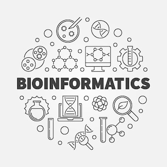 Биоинформатика круглая в стиле тонких линий