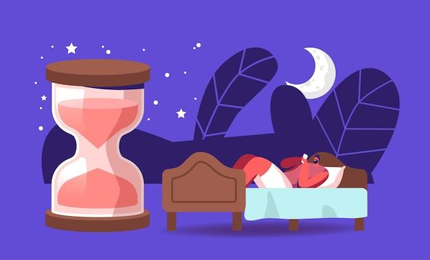 Биологические часы, ночной сон, сон, время постельных принадлежностей. молодой человек, страдающий бессонницей, не может спать. мужской персонаж расслабляется лежа в квартире с огромными песочными часами после работы. векторные иллюстрации шаржа