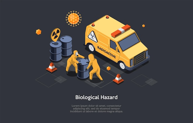 Biological hazard text on dark. isometric illustration in cartoon 3d style with two characters