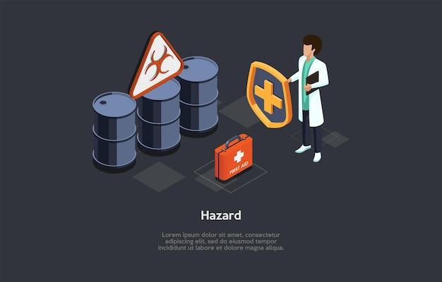 Иллюстрация концепции опасности биологического здоровья на темном фоне. 3d композиция в мультяшном стиле. изометрические вектор дизайн. врач-мужчина в халате стоя, опасные бочки, аптечка, инфографика.