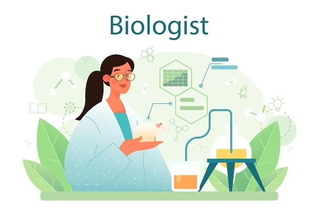 생물학 개념입니다. 과학자는 생명 체계와 살아있는 유기체에 대한 실험실 분석을 합니다. 교육 및 실험의 아이디어입니다. 식물학, 미생물학, 인간 생물학. 벡터 평면 그림