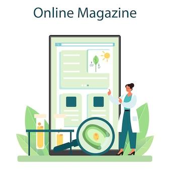 생물학자 온라인 서비스 또는 플랫폼. 과학자는 생명 체계와 살아있는 유기체에 대한 실험실 분석을 합니다. 온라인 잡지. 벡터 평면 그림