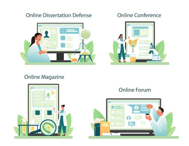 Biologist online service or platform set. vector flact illustration