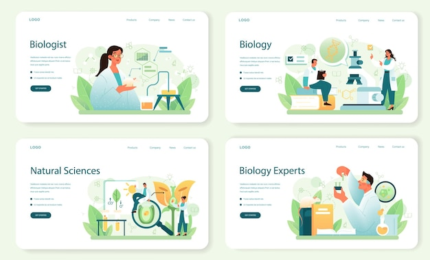 Biologist web banner or landing page set. scientist make laboratory analysis of life system and living organisms. education and experiment. botany, microbiology, anatomy. vector flact illustration