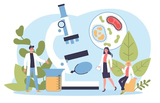 生物学科学。顕微鏡を持つ人々は実験室分析を行います。教育と実験のアイデア。