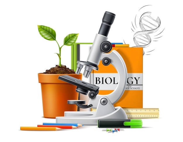 Biology concept. realistic microscope plant seedling in pot