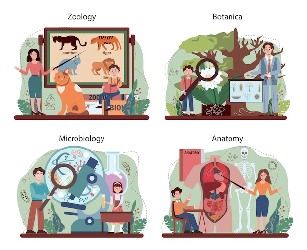 Biology concept set. students exploring nature and living organism structure. idea of academic education. botany, zoology, microbiology, human anatomy. vector flact illustration