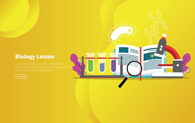 Biology lesson concept scientific illustration banner