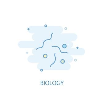 생물학 라인 개념입니다. 간단한 라인 아이콘, 컬러 그림입니다. 생물학 기호 평면 디자인입니다. ui/ux에 사용할 수 있습니다.