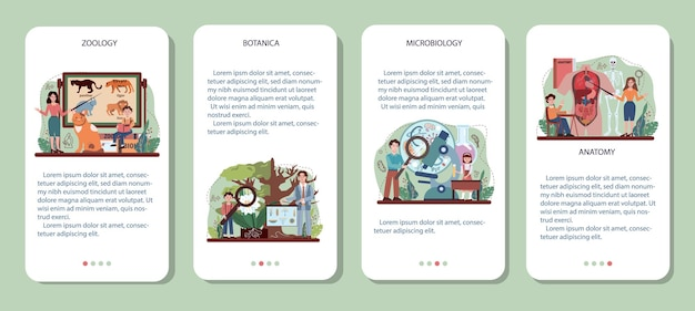 Biology mobile application banner set. students exploring nature and living organism structure. idea of academic education. botany, zoology, microbiology, human anatomy. vector flact illustration
