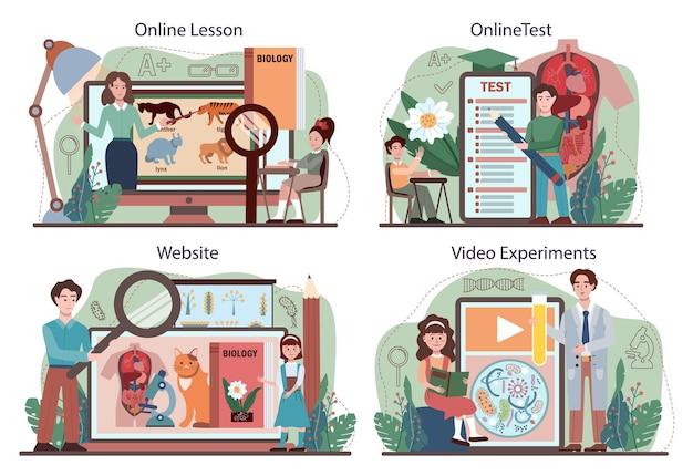 生物学のオンラインサービスまたはプラットフォームセット。自然と生物の構造を探求する学生。学術教育のアイデア。オンラインレッスン、テスト、ビデオ実験、ウェブサイト。ベクトルフラクトイラスト