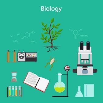 Biology research cartoon illustration