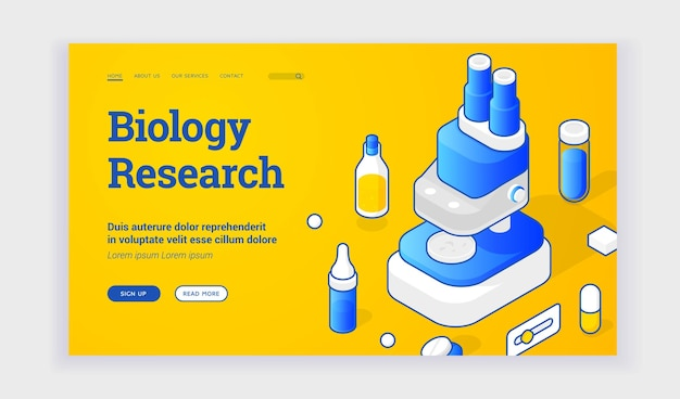 Biology research website. blue microscope and lab equipment elements