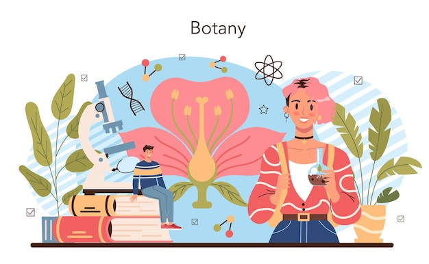 生物学の教科の概念。自然と生物の構造を探求する学生。解剖学と植物学のレッスン。学術教育のアイデア。漫画スタイルのベクトル図