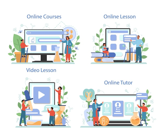生物学の教科のオンラインサービスまたはプラットフォームセット。人間と自然を探求する科学者。解剖学と植物学のレッスン。オンラインコース、講師、レッスン。