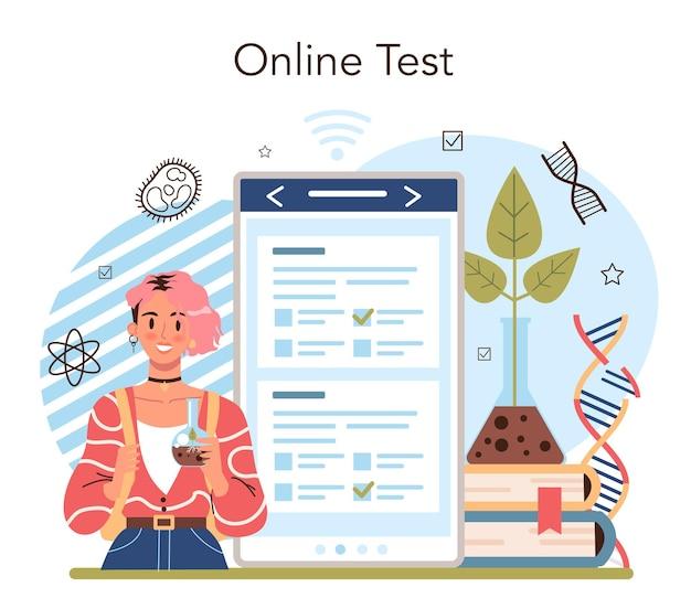 Biology school subject online service or platform. students exploring