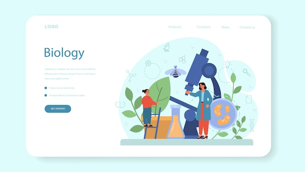 Biology school subject web banner or landing page