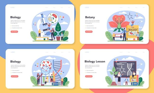 생물학 학교 주제 웹 배너 또는 방문 페이지 세트