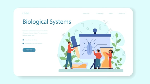 Biology school subject web template or landing page.