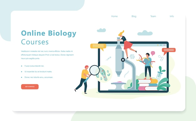 Biology science concept. people with a microscope