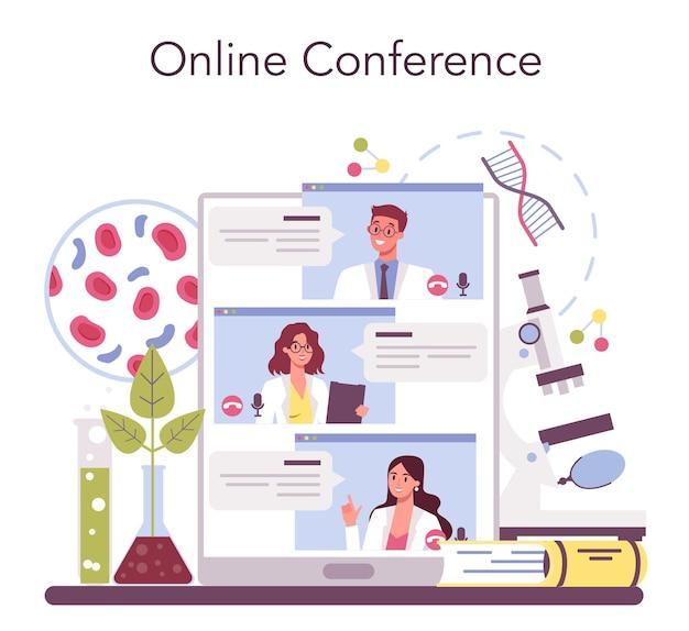 Biology science online service or platform. scientist make laboratory analysis of life system and living organisms. online conference. vector illustration