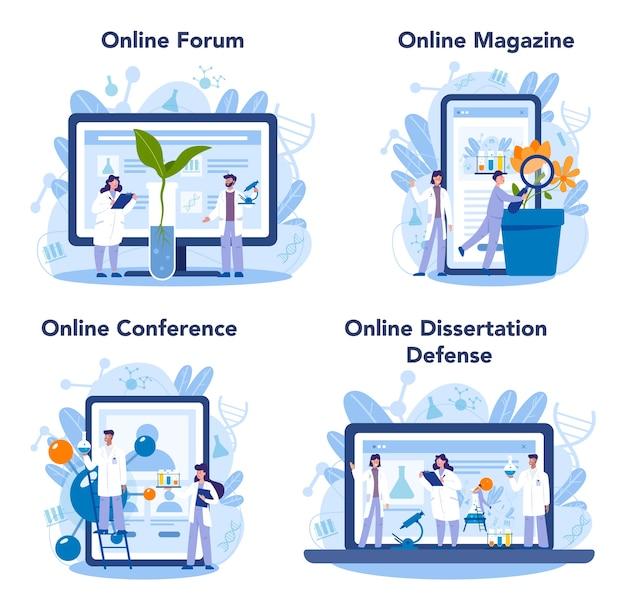 Biology science online service or platform set
