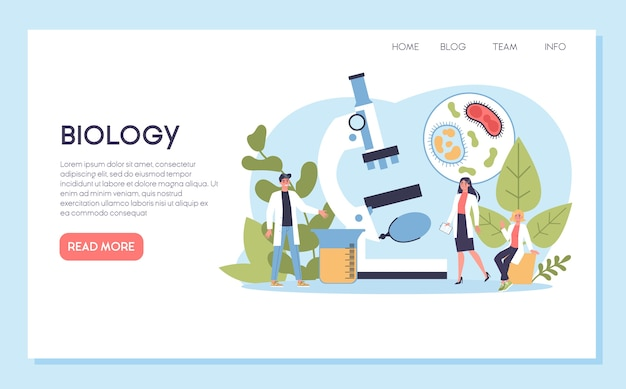 Biology science web banner or landing page. people with microscope make laboratory analysis. idea of education and experiment.