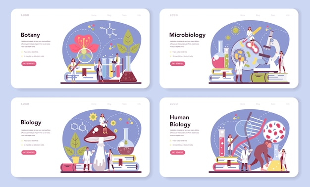 Biology science web banner or landing page set