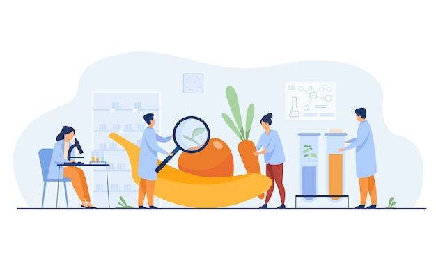 Biology scientists doing research on fruits. people cultivating plants in lab. vector illustration for gmo food, agriculture, science concept