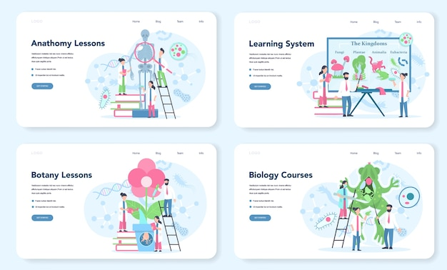 Biology web landing page set. scientist exploring human and nature. anatomy and botany lesson. idea of education and experiment. vector illustration in cartoon style