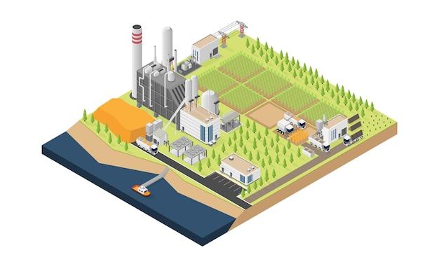 Biomass energy, biomass power plant in isometric graphic