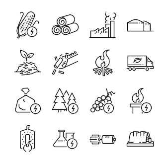 Biomass line icon set.