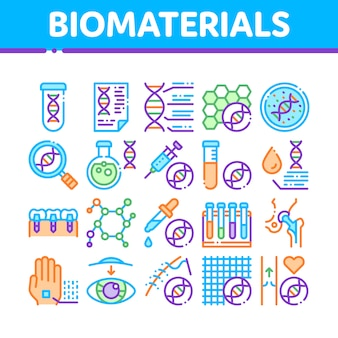 Biomaterials icons collection
