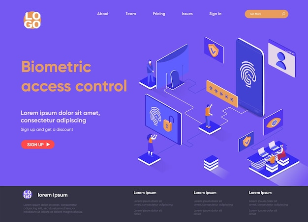 Biometric access control 3d isometric landing page illustration with people characters