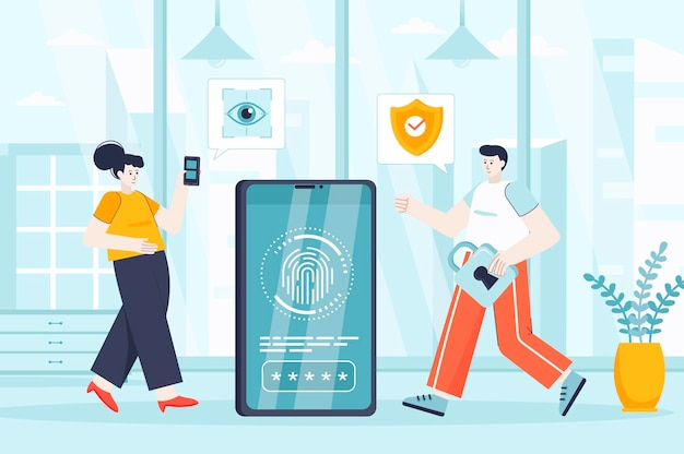Biometric access control concept in flat design illustration of people characters for landing page