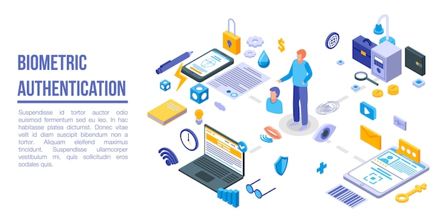 Biometric authentication concept banner, isometric style