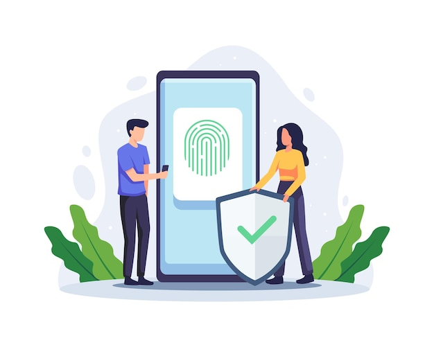 Концепция биометрической аутентификации. конфиденциальность и распознавание, биометрическая иллюстрация контроля доступа, система безопасности с проверкой отпечатков пальцев. вектор в плоском стиле